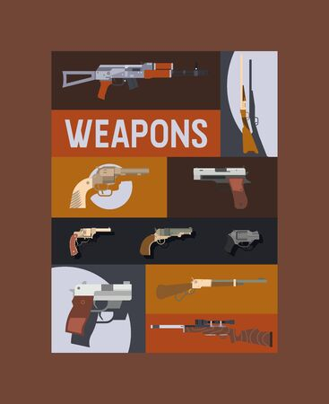 Guns and vinchesters poster vector illustration. Automatic weapons, machine, pistolsrifle. Military combat firearms. Collection of hotgun and handgun. Vintage objects for shooting. Illustration