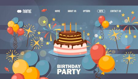 Happy birthday website page design, vector illustration. Background for landing page template, decorated with birthday cake, balloons and fireworks, bokeh effect. Company anniversary celebration party