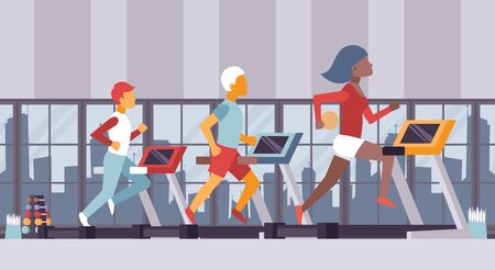 Fitness gym vector illustration. People running on treadmills sport center, cardio exercise class. Active fit man and woman in urban fitness studio, healthy lifestyle