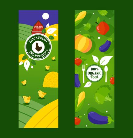 Organic healthy food from local farmers, fresh eco products, vector illustration. Vertical banners in flat style for organic grocery store or website