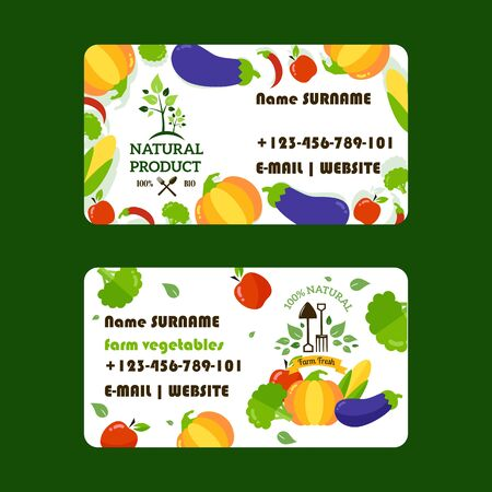 Natural food supply business card design, vector illustration. Organic products from local farms to market or grocery store. Support eco farmers, buy only naturally grown vegetables and healthy food Иллюстрация