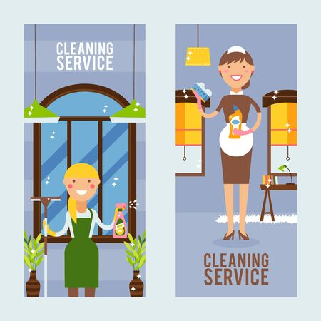 Cleaning service vertical banner, vector illustration. Professional cleanup of home and office, smiling women with washing detergents, sparkling clean windows