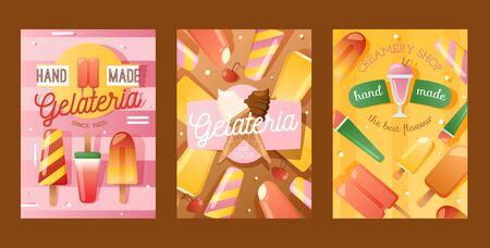 Ice cream shop banner, vector illustration. Gelateria advertisement flyer, wall poster, hand made gelato. Creamery cafe dessert selection, sweet treats in various flavors Foto de archivo - 132475173