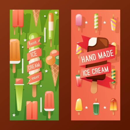 Ice cream store banner, vector illustration. Colorful advertisement flyer, hand made gelato, family owned creamery. Selection of tasty frozen desserts, delicious treat