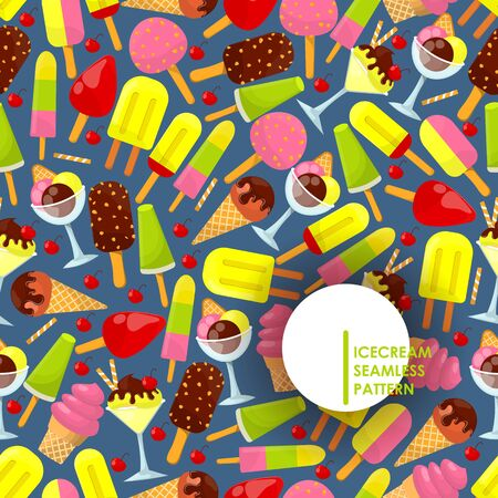 Ice cream seamless pattern, vector illustration. Colorful gelato, scoops in wafer cone or in glass bowl, frozen ice , chocolate coating