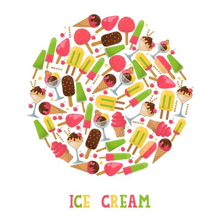 Ice cream round frame composition, vector illustration. Isolated icons, different kinds of gelato in various flavors. Scoop in wafer cone or in glass bowl, frozen ice Foto de archivo - 132475219