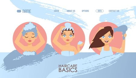 Hair care basics, vector illustration. Website template, haircare products guide, shampoo and mask. Landing page design, beauty blog for women, hair treatment cosmetics overview. Flat style portraits