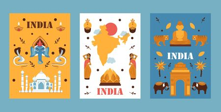 India travel banner, vector illustration. Simple flat design, symbols of Indian culture, tradition, nature and religion. Popular travel destination in Asia, exotic country 일러스트