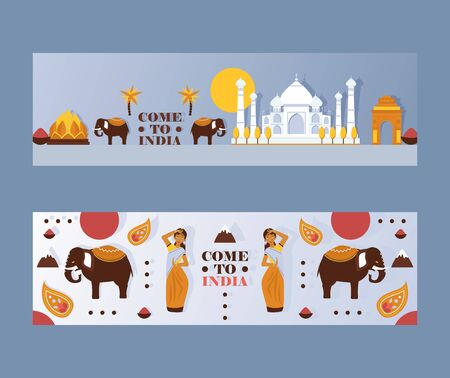 India travel banner, vector illustration. Tour agency website header with symbol of Indian culture, tradition, architecture and religion. Popular travel destination in Asia 일러스트