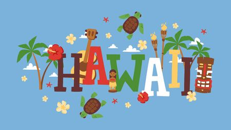 Hawaii typography vector illustration. Travel agency brochure cover, tour booklet. Summer vacation on exotic tropical island. Hawaiian icons in flat style Stock Illustratie