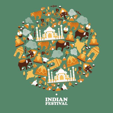 Indian symbols in round frame composition, vector illustration. Popular travel destination in Asia, exotic country. Indian festival invitation 일러스트
