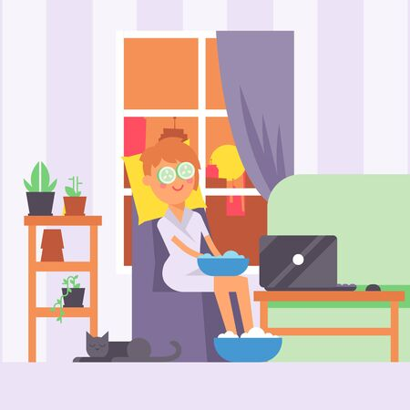 Woman doing skin care routine at home, vector illustration. Relaxing beauty procedures after work, in comfort of city apartment. Traditional skin treatment methods