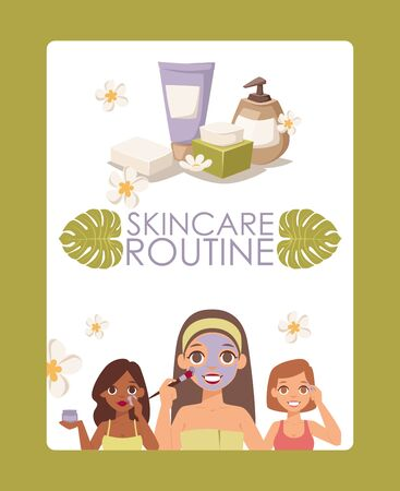 Skincare routine, vector illustration. Face skin treatment products advertisement poster, brochure cover, cosmetics booklet. Women doing daily beauty procedures  イラスト・ベクター素材