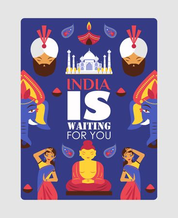 India travel poster, vector illustration. Typography quote India is waiting for you. Sightseeing tour to exotic Asian country, flat style symbol of Indian culture 일러스트