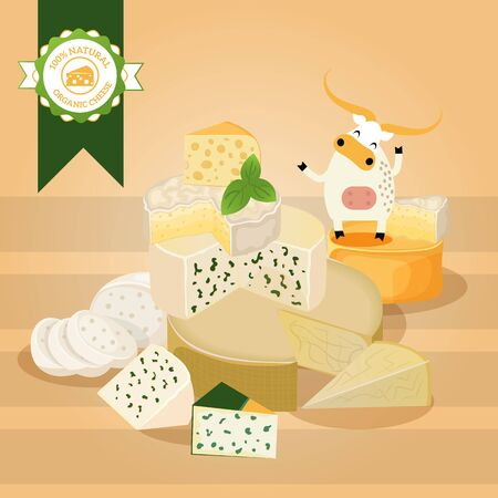 Cheese vector illustration. Various kinds of different cheese, tasty natural dairy products, delicious blue cheese. Organic food store poster, brochure or booklet cover