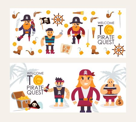 Pirate quest invitation, vector illustration. Flat style banner with funny cartoon characters, and piracy icons. Fun adventure with treasure chest, pirate costumes