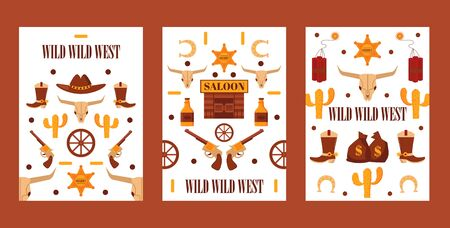 Wild West set of banners with isolated icons, vector illustration. Cartoon style symbols of American western, cowboy adventures. Wild west style game quest or party invitation