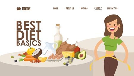 Diet for weight loss, website design vector illustration. Landing page with recipe of healthy food, nutritionist tips and article. Happy woman measures her waist after loosing weight