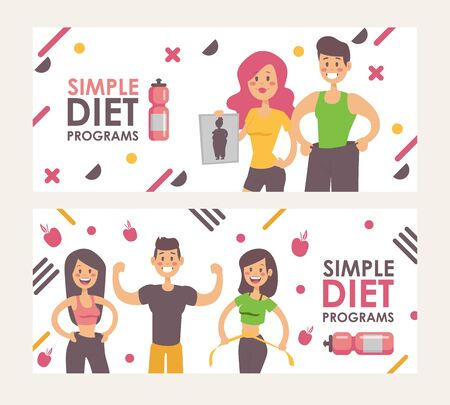 Diet for weight loss, vector illustration banner. Happy slim people, cartoon style characters. Smiling man and woman, healthy and active. Simple and effective diet programs