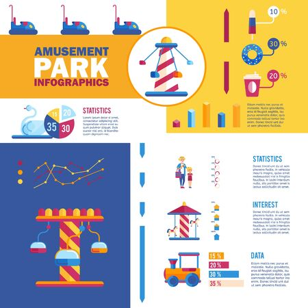 Amusement park infographics, vector illustration. Fairground business presentation with flat icons, statistics data in graphs and charts. Information about profit