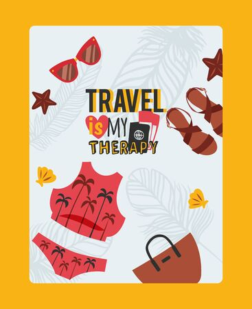 Travel inspiration poster, vector illustration. Summer vacation trip to the sea, woman clothes, swimming suit, sunglasses and sandals. Simple icons of vacation  イラスト・ベクター素材