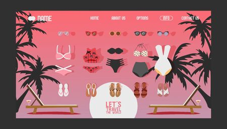 Summer vacation swimsuits for women, website design, vector illustration. Online shopping for sea and beach summer trip, icons of swimming suits