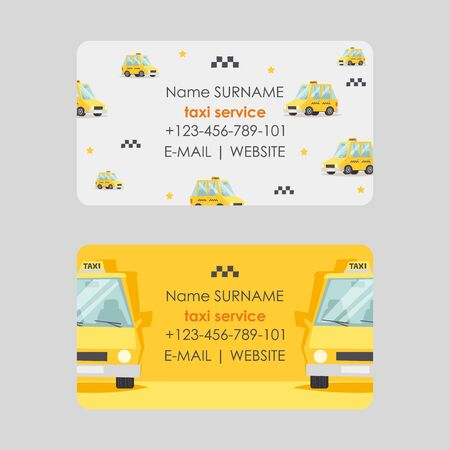 Taxi service business card design, vector illustration. Fast and reliable cab company contacts. Yellow car in cartoon style, corporate identity business card template