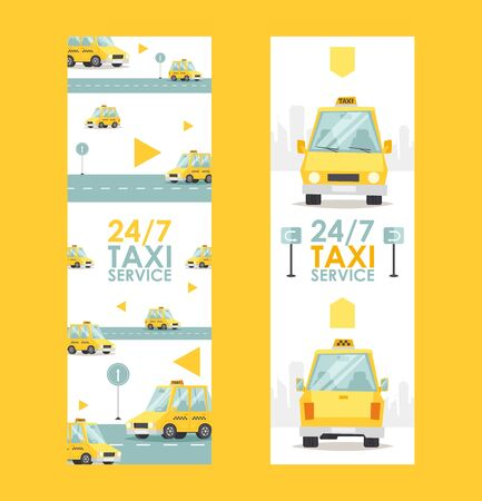 Round-the-clock taxi service banner, vector illustration. Fast and reliable cab company advertisement. Yellow car in cartoon style, website banner Ilustração
