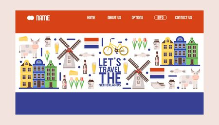 Netherlands travel icons, vector illustration. Tour agency website design, landing page template in colors of Dutch flag. Main symbols of Holland windmill, bicycle, tulips Stock Illustratie