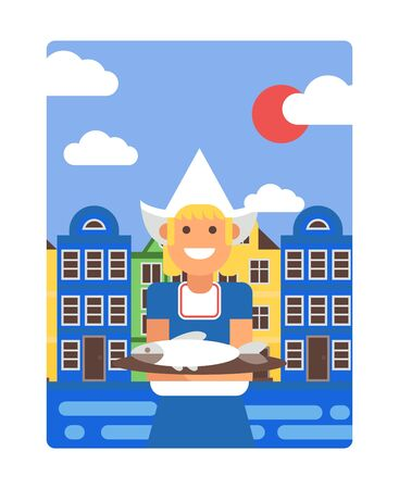 Netherlands poster in simple flat style, vector illustration. Smiling girl in traditional Dutch costume holding dish with herring, old houses of Amsterdam on background