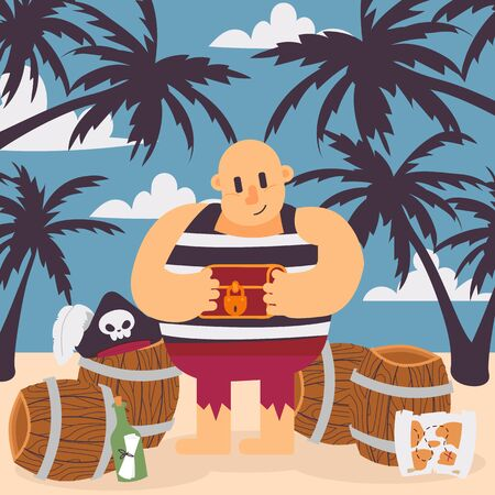 Pirate on tropical island, vector illustration. Funny cartoon character pirate captain holding treasure chest. Corsair on a beach with barrels and palms