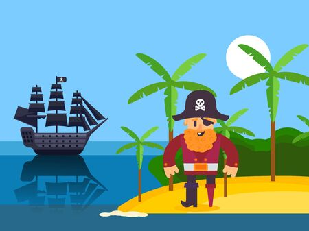 Pirate on tropical island, vector illustration. Funny cartoon character pirate captain with red beard. Corsair on beach with palm, black sail ship in sea