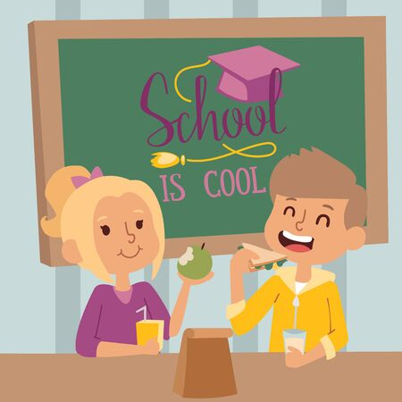 Heureux écoliers en classe, illustration vectorielle. Garçon et fille déjeunant ensemble en classe. Enfants souriants à l'école, personnages de dessins animés