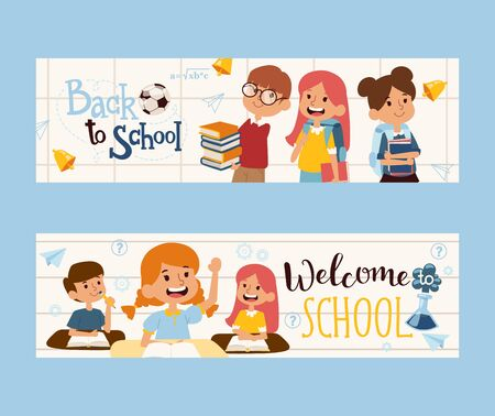 Back to school banner, vector illustration. Happy children with books, friendly classmates. School education booklet header. Boys and girls cartoon characters