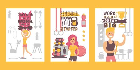 Gym banners, vector illustration. Motivational poster for training, people happy with their results after workout in fitness studio. Inspirational phrases for losing weight