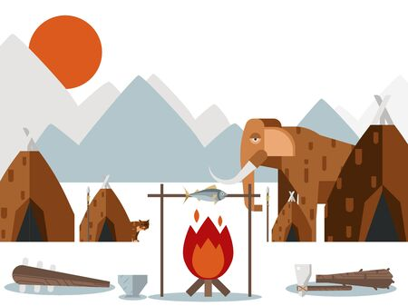 Stone age settlement, vector illustration. Prehistoric village with tents and campfire, ancient human habitat in cold mountain landscape. Stone age animals