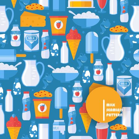 Fresh milk and dairy products in seamless pattern, vector illustration. Isolated flat icons of yogurt, cottage cheese, ice cream and milk. Delicious healthy food from farm