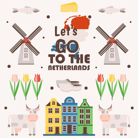 Netherlands travel poster, vector illustration. Symbols of main Dutch tourist attractions, simple icons in flat style. Traditional windmills, tulips, old houses and cows 向量圖像
