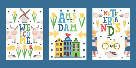 Netherlands travel banner, vector illustration. Tour booklet cover, postcard design, souvenir card with icons of main Dutch tourist attractions