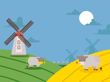 Rural landscape with windmills and fields, vector illustration. Countryside background in cartoon style, pastoral view with grazing cows. Farmland hills