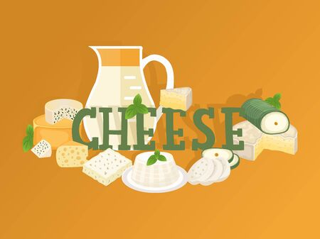 Cheese shop typographic vector illustration. Assortment of different kinds of cheese, jug of fresh milk, tasty natural dairy products. Organic food store brochure or booklet Иллюстрация