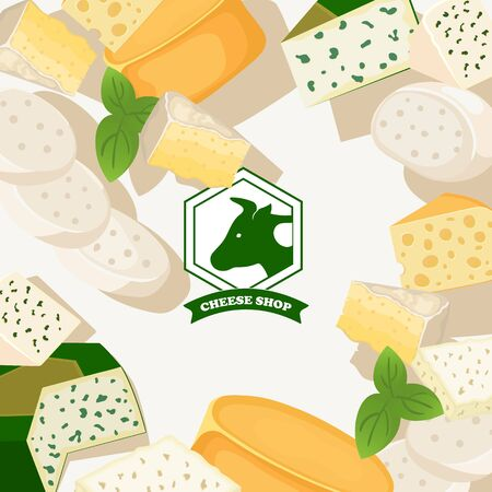 Cheese shop background, vector illustration. Assortment of different kinds of cheese, tasty natural dairy products, delicious blue cheese. Organic food store brochure or booklet Фото со стока - 134147109