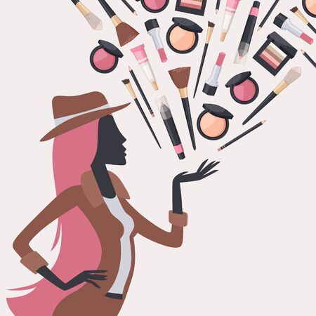 Silueta de mujer con cosméticos de belleza, ilustración vectorial. Portada del catálogo de maquillaje, accesorios para el cuidado de la piel del rostro, productos de cosmetología. Modelo de moda presenta set de cosméticos para mujer.