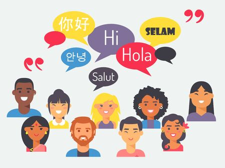 People speak different languages, vector illustration. Flat style portraits of men and women from around the world with speech bubbles. Learn foreign language Иллюстрация