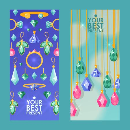 Jewelry store website banners, vector illustration. Sparkling diamonds and jewels with precious gemstones. Flat style jewellery advertisement cards. Beauty fashion accessories Illusztráció