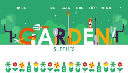 Garden supplies website design, vector illustration. Landing page template with typographic title. Gardening tools and geometric flat style flowers. Online shop for gardeners