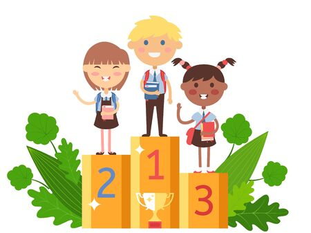 Children winning in school competition, vector illustration. Smart kids with books on winner podium, happy boy and girl awarded prize for contest. Reward in competition