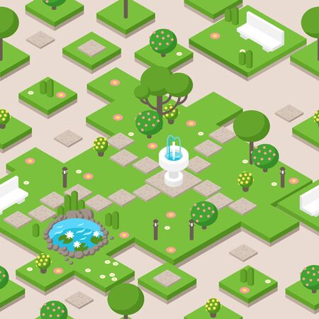 Isometric park composition with trees, fountain and bench, vector illustration. Game decoration elements for park or garden in summer. Isometric map tile design