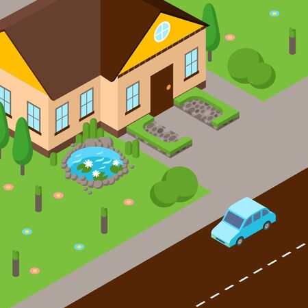 Isometric street scene, vector illustration. House with green lawn, street and car on road. Perspective view from above. Isometric game design in cartoon style 向量圖像