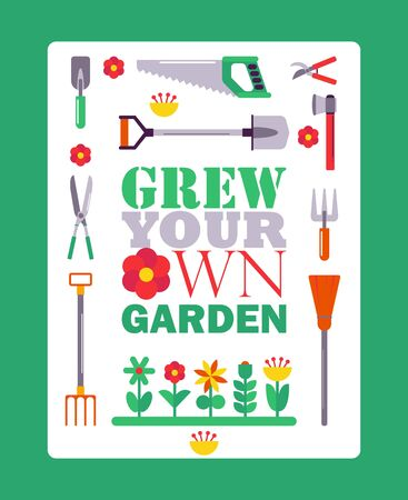 Inspirational gardening poster, vector illustration. Typographic book cover with isolated gardener tools icons. Motivational phrase grow your own garden